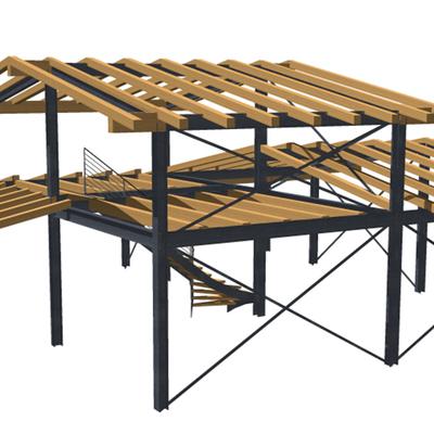 Progetto di una villa con struttura portante in acciaio e legno