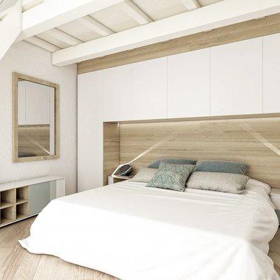 Progetto della camera da letto matrimoniale con soppalco - vista letto
