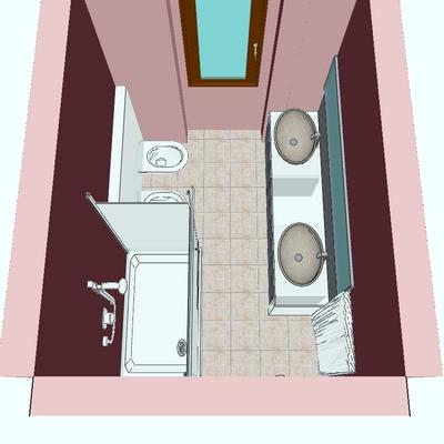 Progetto ristrutturazione Bagno con doccia e doppiolavabo