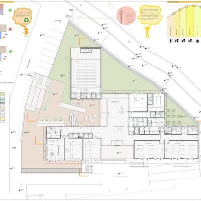 Progetto di una scuola con struttura in legno Xlam a due elevazioni f.t.