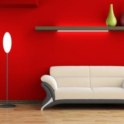 soggiorno una parete rossa
