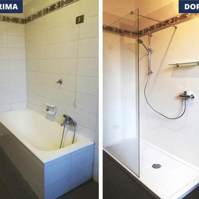 Trasformazione vasca in doccia prima e dopo walk-in