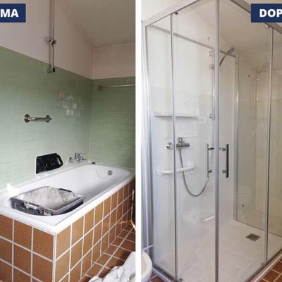 Trasformazione della vecchia vasca in doccia prima e dopo