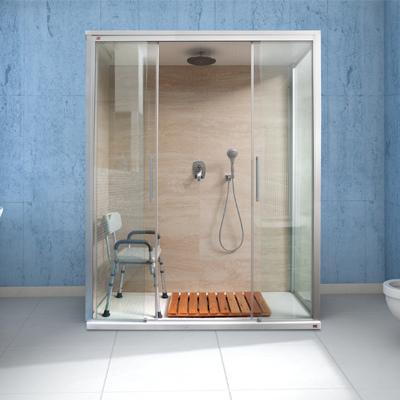 Trasformazione vasca in doccia con finiture in grès marmorizzato - Torino