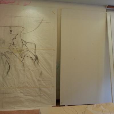 Progetto armadio a muro con ante scorrevoli decorate a Macerata