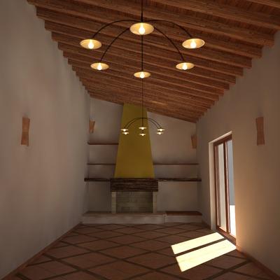 """PROGETTO INTERNI. Modello Virtuale """"3D""""con attribuzione dei MATERIALI e studio delle LUCI. Livello AVANZATO."""