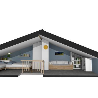 Progetto di interior design per una mansarda