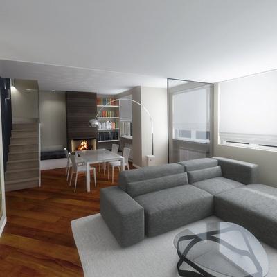 Salotto Con Camino Minimal Stile Moderno Internal Design : Arredamento ...