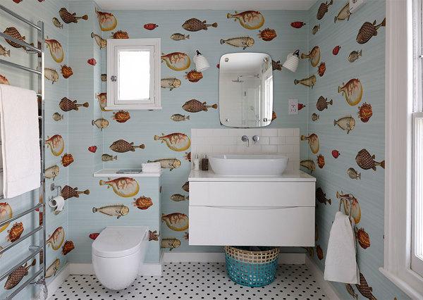 Foto applicazione carta da parati per bagno di rossella for Carta parati bagno