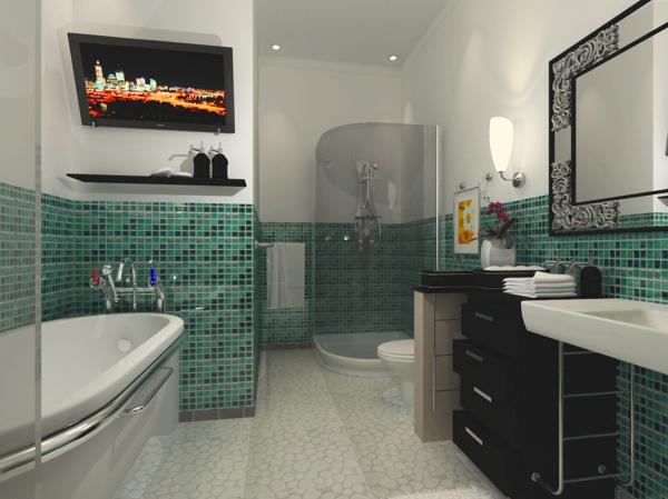 Bagno moderno con doccia e vasca [tibonia.net]