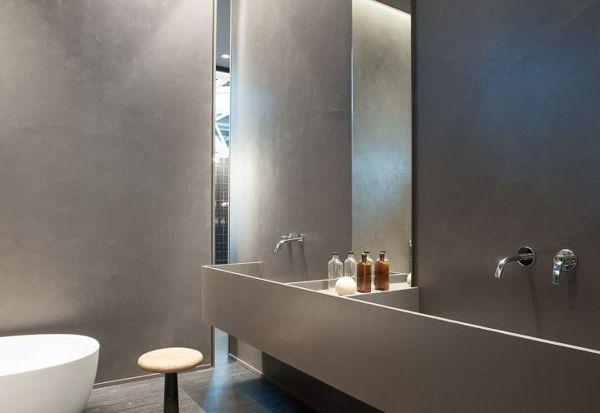 Foto bagno pareti in cemento resina spatolato finitura - Resina piastrelle bagno ...