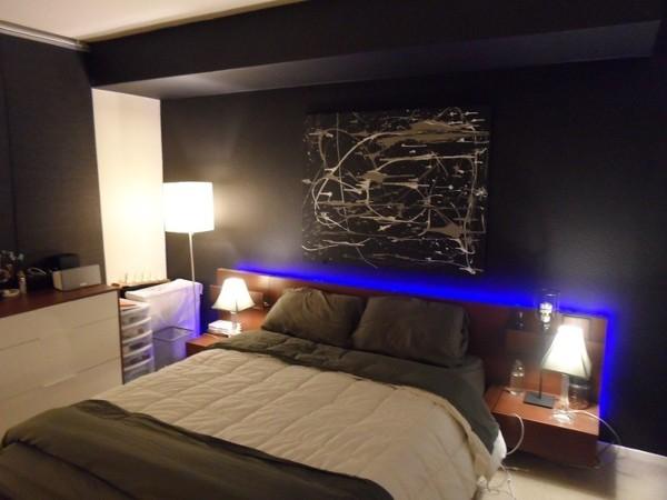 Foto cornici di led blu in camera da letto di verde for Camera da letto blu