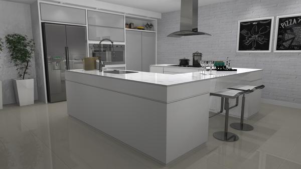 Foto cucina laccata bianca con top in vetro e frigo - Top cucina in vetro ...