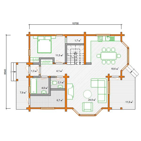 Foto disegno interno casa in legno 173 mq di case bio for Disegno interno casa