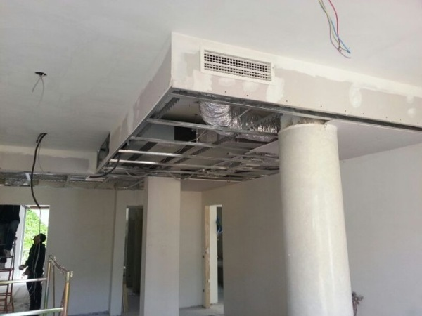 Foto lavorazione cartongesso per copertura di linea casa for Impianto condizionamento canalizzato