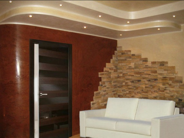 Foto: mix pietra stucco veneziano cartongesso ed illuminazione led