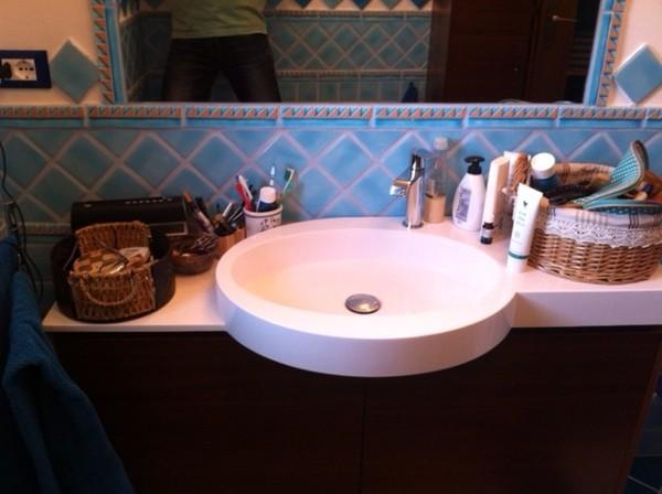 Foto mobile da bagno sospeso artesi mod tiffany noce canaletto di