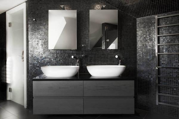 Bagno Con Mosaico Nero : Bagno con mosaico argento