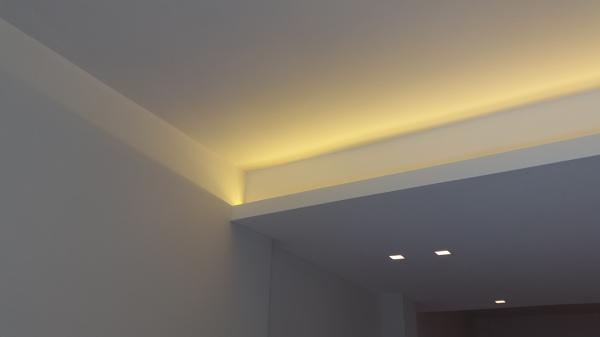 Foto particolare controsoffitto con illuminazione led di