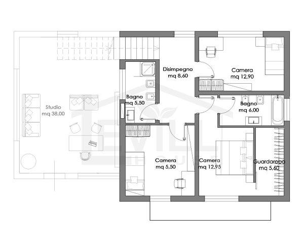 Foto pianta zona notte di case bio siberia wood 438739 for Esempi di progetti di case moderne