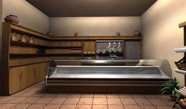 Foto render interno negozio generi alimentari di bridge for Idee architettura interni