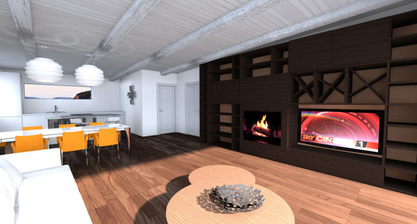 foto rendering progetto parete attrezzata con camino e tv