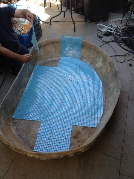 foto rivestimento in mosaico per piscina per pesci di