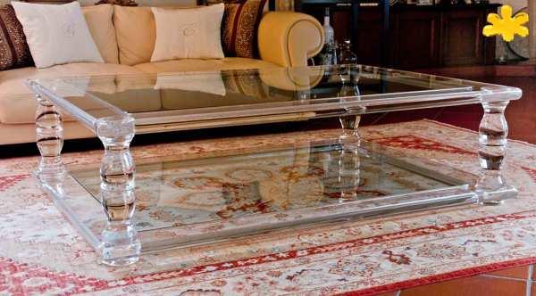 Tavolini Da Salotto Plexiglass.Foto Tavolino Da Salotto In Plexiglass Trasparente A Due Piani Di