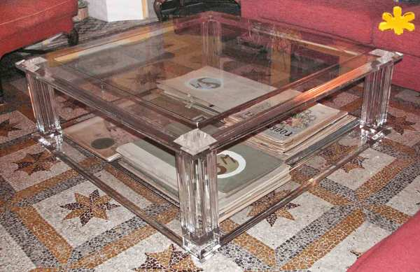 Tavolini Da Salotto In Plexiglass Prezzi.Foto Tavolino Da Salotto In Plexiglass Trasparente A Due Piani Di