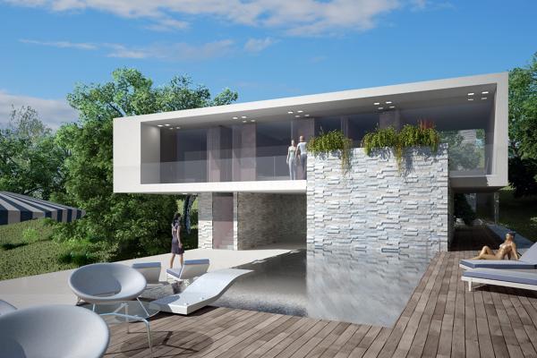Foto vista terrazza abitazione con piscina di at studio