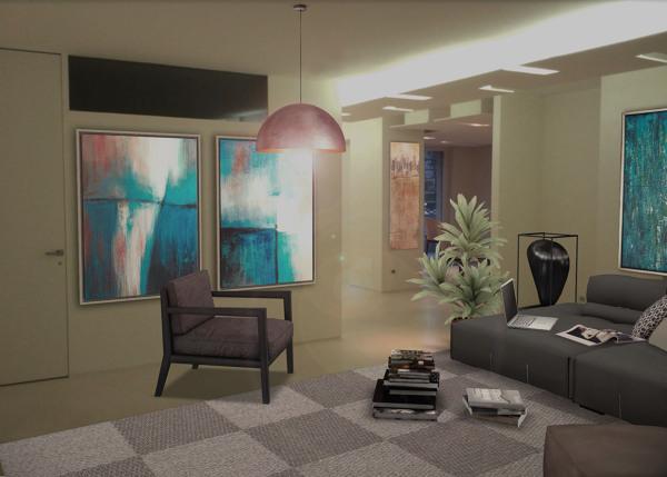 foto vista soggiorno arredato di studio di architettura