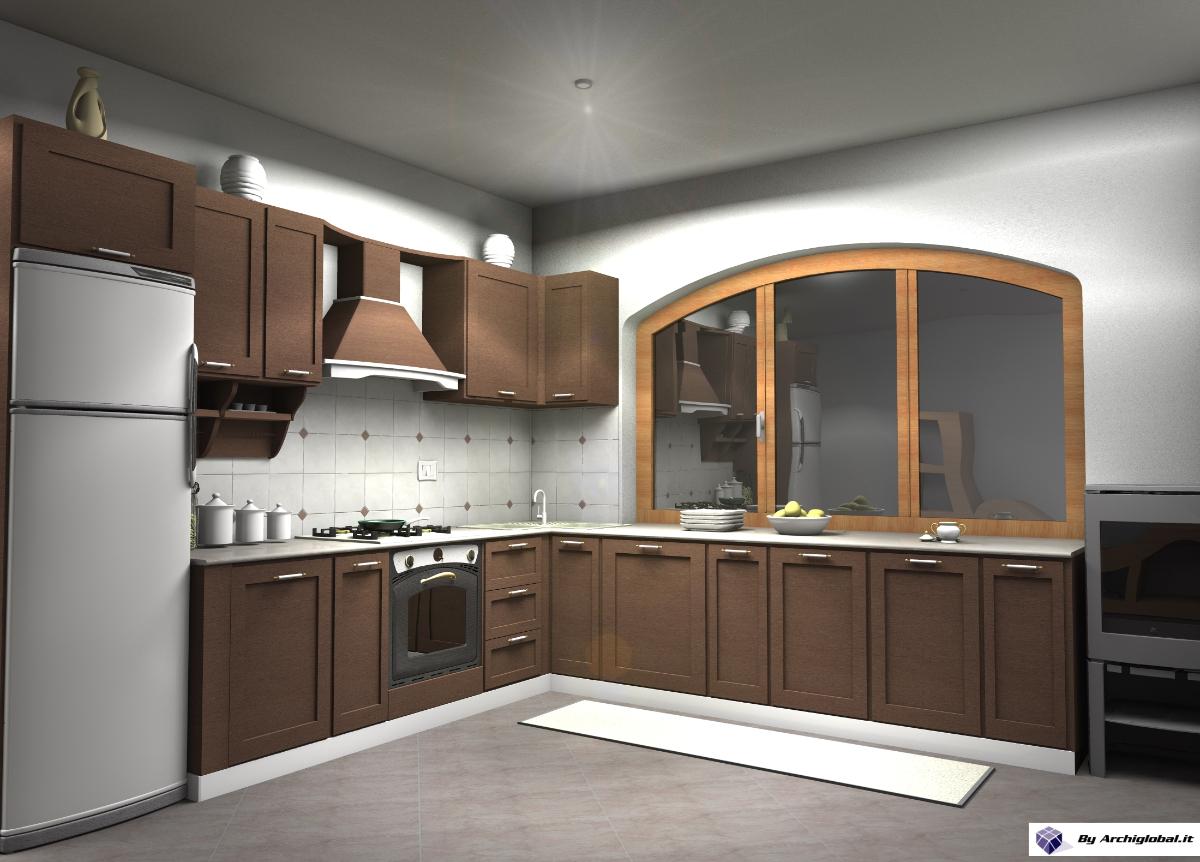 Progettazione E Render Cucina In Legno Progetti Interior Designer #8F623C 1200 862 Cucine Stile Eclettico