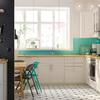 cucina bianca e verde acqua