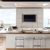 cucina bianca piano legno