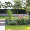 Giardino con prato, alberi e cespugli