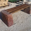 panca blocco in marmo e legno