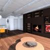 Rendering Progetto Parete attrezzata con camino e tv