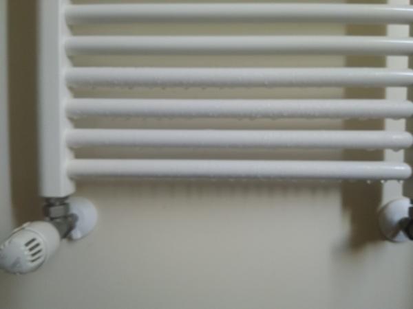 Perché lo scaldasalviette gela e fa condensa negli ultimi 4 elementi in basso?