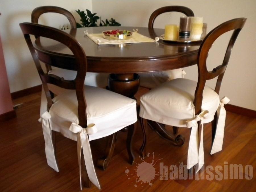 Realizzare 4 coprisedie per sedie antiche e copritavolo - Fiocchi per coprisedie ...