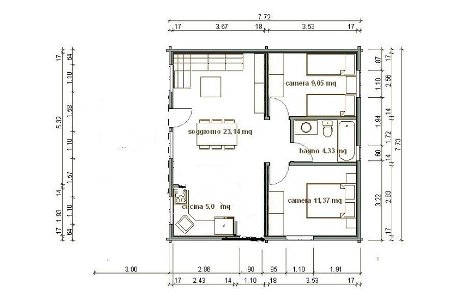 Costruire casa di 60 mq capaccio scalo salerno - Planimetria casa 60 mq ...