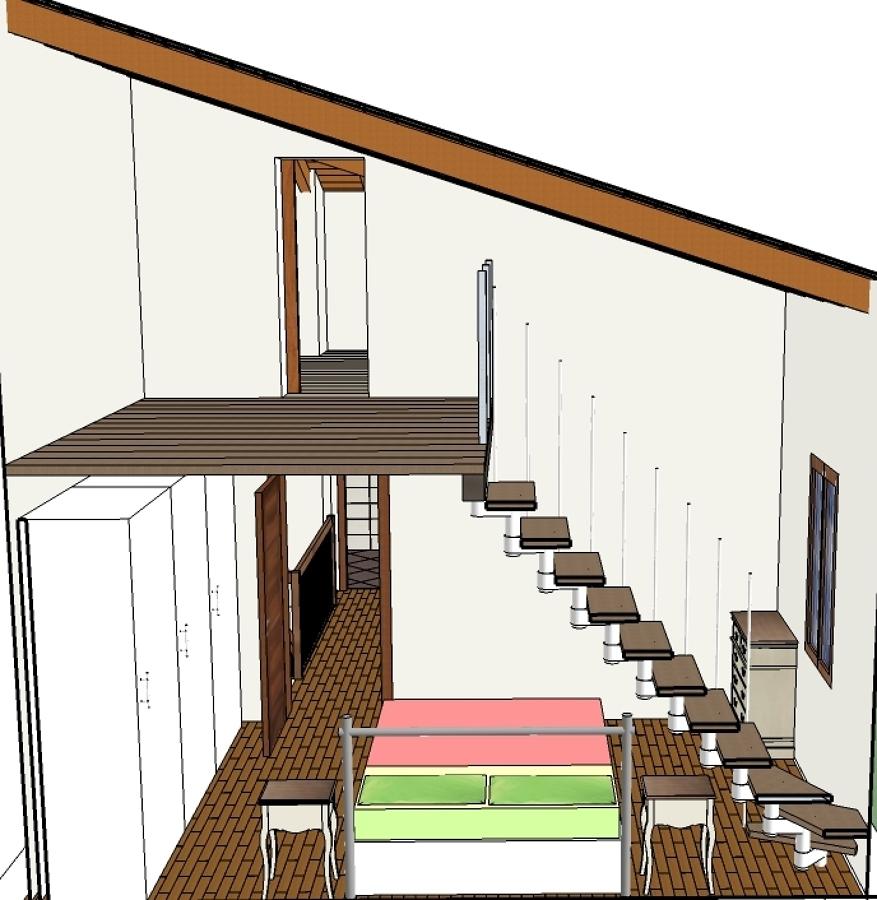 ... soppalco in legno che insista in parte su una camera da letto e scale
