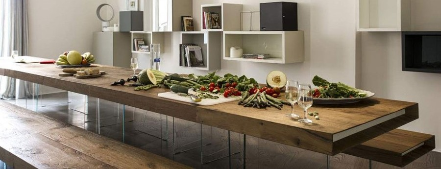 Tavolo da pranzo in legno rovere grezzo vissuto for Buongiorno arredamenti