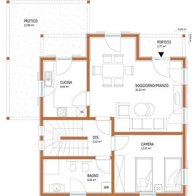 Costruzione casa prefabbricata a due piani di circa 90 mq for Casa su due piani progetto