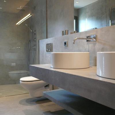 Bagno doccia in beton cire cemento cerato o in tadelakt - Microcemento bagno ...
