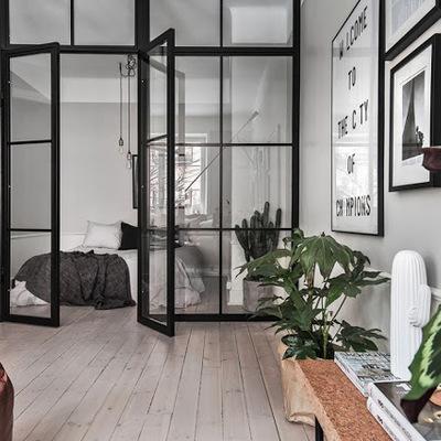 Tramezzo con porta in vetro e ferro stile industriale ...