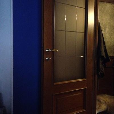 Verniciatura porte interne con vetro da noce a bianco torino ...
