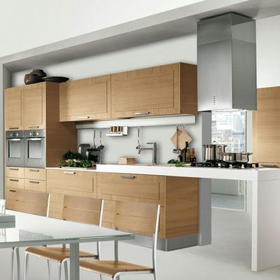 Cucina moderna lineare 4m senza frigo con lavastoviglie color legno ...